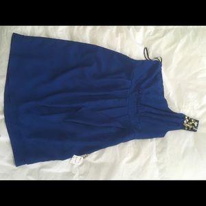 Blue one shoulder forever21 dress with rhinestones